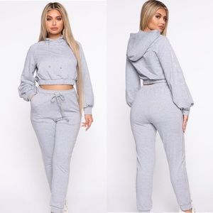 Fashionnova Keeping it cute rhinestone hoodie set